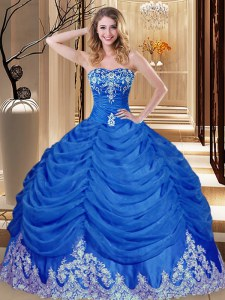 Free and Easy Pick Ups Ball Gowns Quinceanera Dress Royal Blue Sweetheart Tulle Sleeveless Floor Length Lace Up