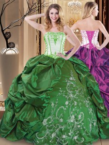 Green Sleeveless Taffeta Lace Up Quince Ball Gowns for Military Ball and Sweet 16 and Quinceanera