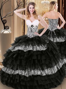 Printed Black Sleeveless Ruffled Layers and Pattern Floor Length Vestidos de Quinceanera