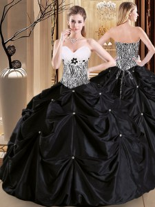 Decent Pick Ups Black Sleeveless Satin and Taffeta Lace Up Sweet 16 Dress for Military Ball and Sweet 16 and Quinceanera