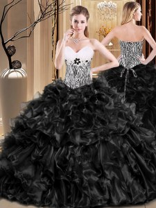 Exceptional Organza Sleeveless Floor Length Sweet 16 Dresses and Ruffles