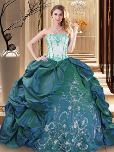 Turquoise Ball Gowns Strapless Sleeveless Taffeta Floor Length Lace Up Embroidery and Pick Ups Vestidos de Quinceanera