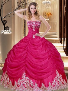 Tulle Sleeveless Floor Length Quinceanera Gowns and Appliques and Embroidery and Pick Ups