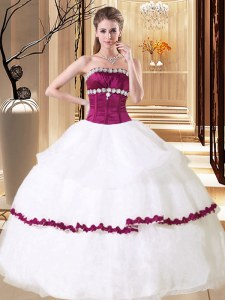 Glittering White Ball Gowns Strapless Sleeveless Organza Floor Length Lace Up Beading Quinceanera Gowns