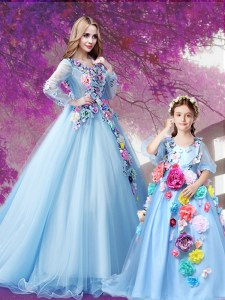 Fashion V-neck Long Sleeves Sweep Train Lace Up Quinceanera Dress Baby Blue Organza