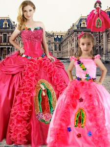 Sweetheart Sleeveless Lace Up Ball Gown Prom Dress Coral Red Organza
