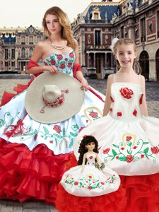 Custom Designed Embroidery Quinceanera Dress White And Red Lace Up Sleeveless Floor Length